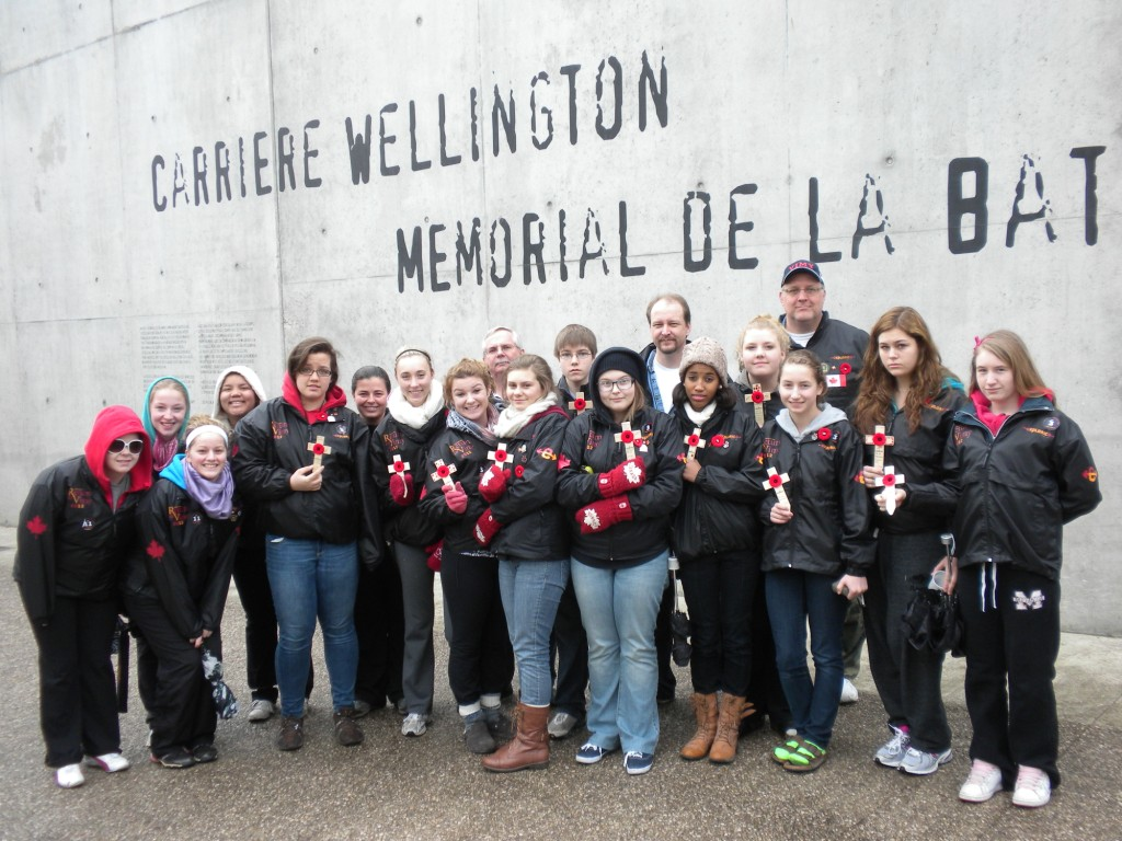 Students on an educational tour to Vimy Ridge